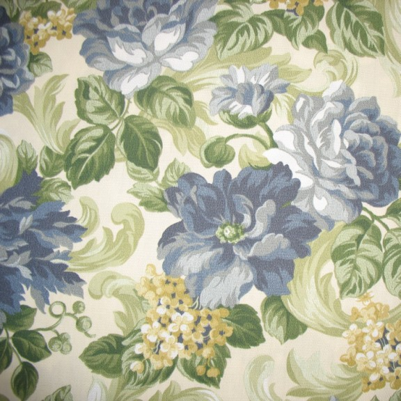 Garden Scroll Delft  - Printed Spun Poly